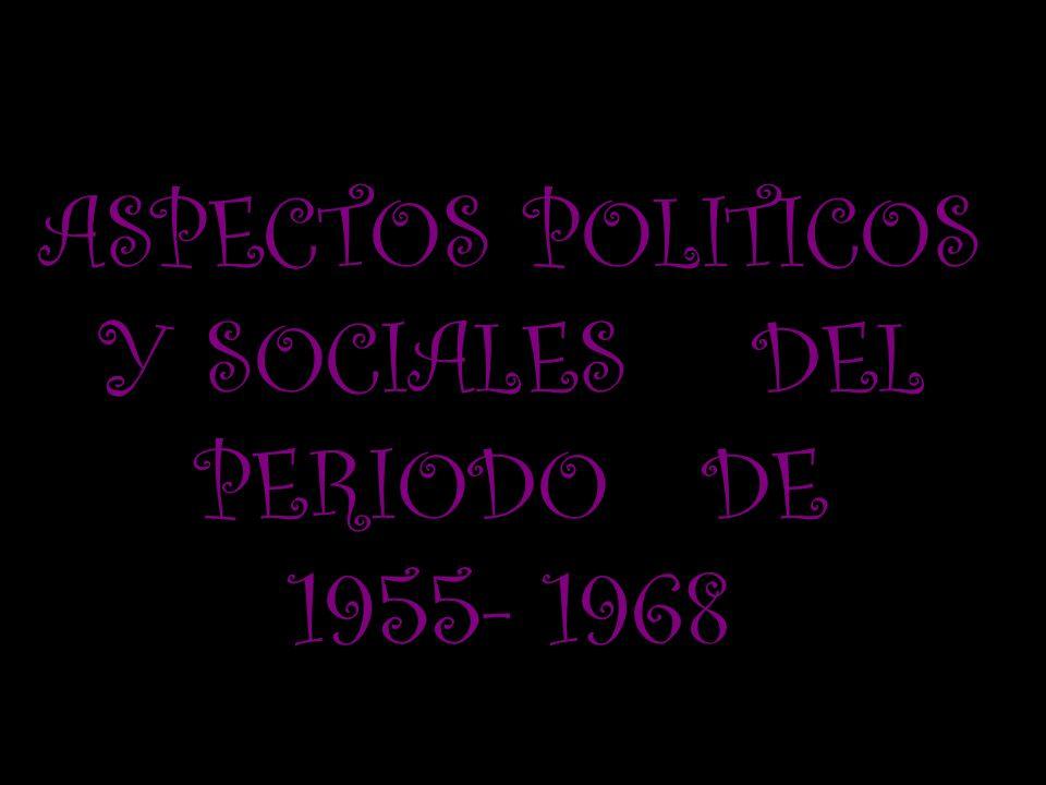 ASPECTOS POLITICOS Y SOCIALES DEL PERIODO DE 1955- 1968