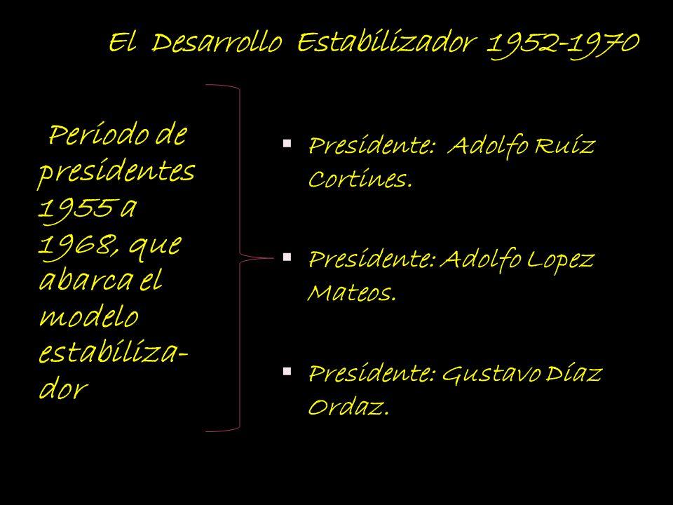 El Desarrollo Estabilizador 1952-1970 Periodo de presidentes 1955 a 1968, que abarca el modelo estabiliza- dor Presidente: Adolfo Ruíz Cortines. Presi