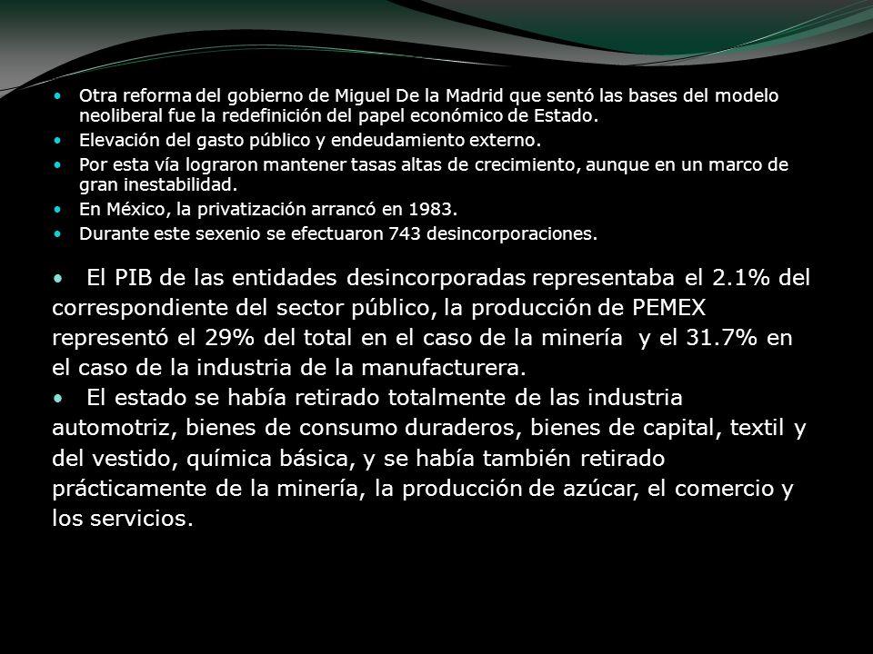 Otra reforma del gobierno de Miguel De la Madrid que sentó las bases del modelo neoliberal fue la redefinición del papel económico de Estado. Elevació