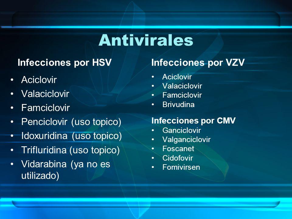 Antivirales Infecciones por HSV Aciclovir Valaciclovir Famciclovir Penciclovir (uso topico) Idoxuridina (uso topico) Trifluridina (uso topico) Vidarab