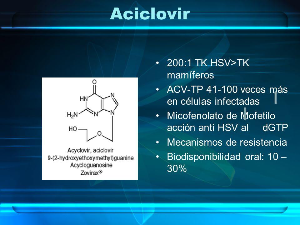 Aciclovir 200:1 TK HSV>TK mamíferos ACV-TP 41-100 veces más en células infectadas Micofenolato de Mofetilo acción anti HSV al dGTP Mecanismos de resis