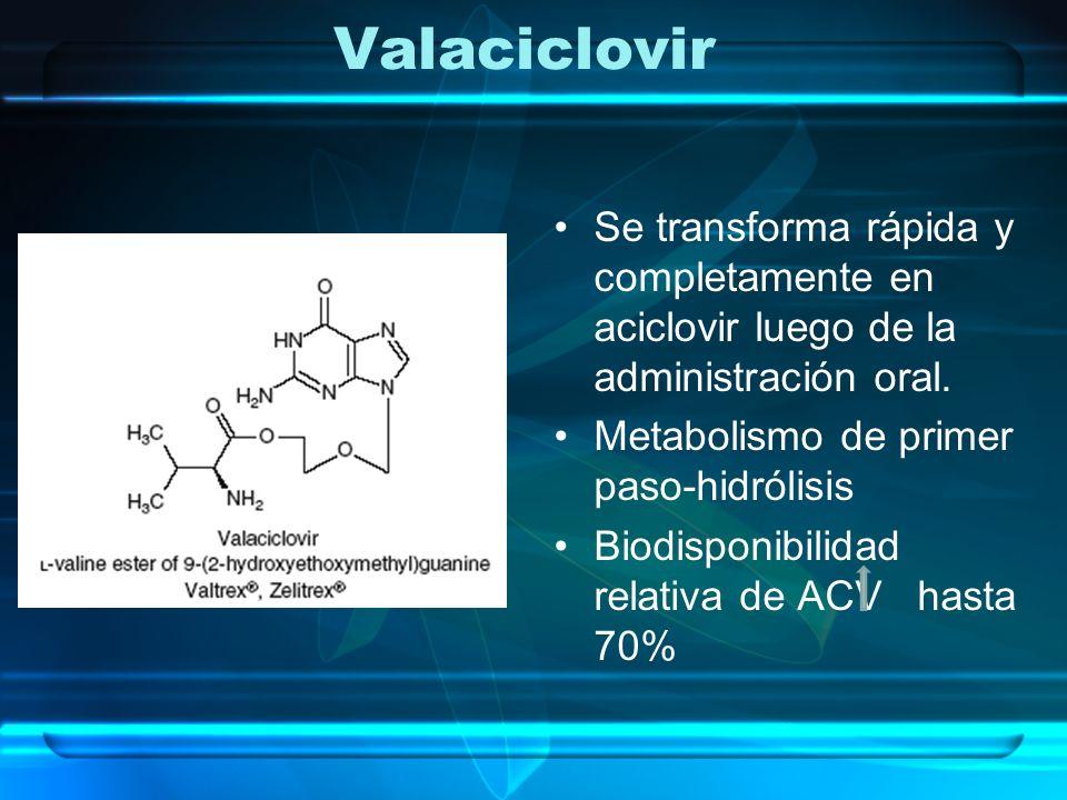 Valaciclovir Se transforma rápida y completamente en aciclovir luego de la administración oral. Metabolismo de primer paso-hidrólisis Biodisponibilida