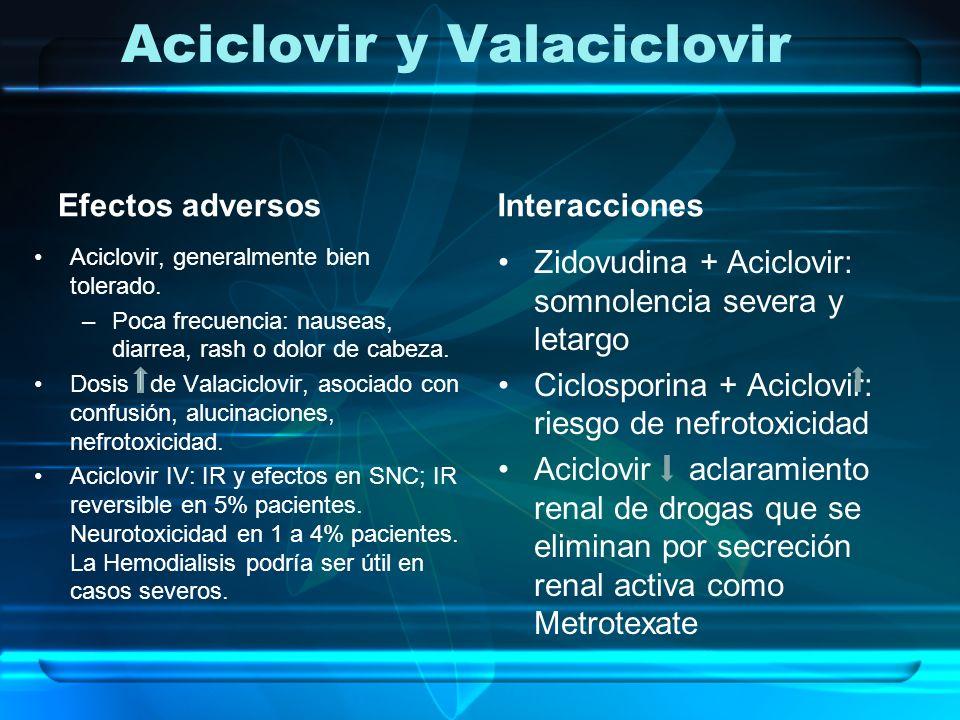 Aciclovir y Valaciclovir Efectos adversos Aciclovir, generalmente bien tolerado. –Poca frecuencia: nauseas, diarrea, rash o dolor de cabeza. Dosis de