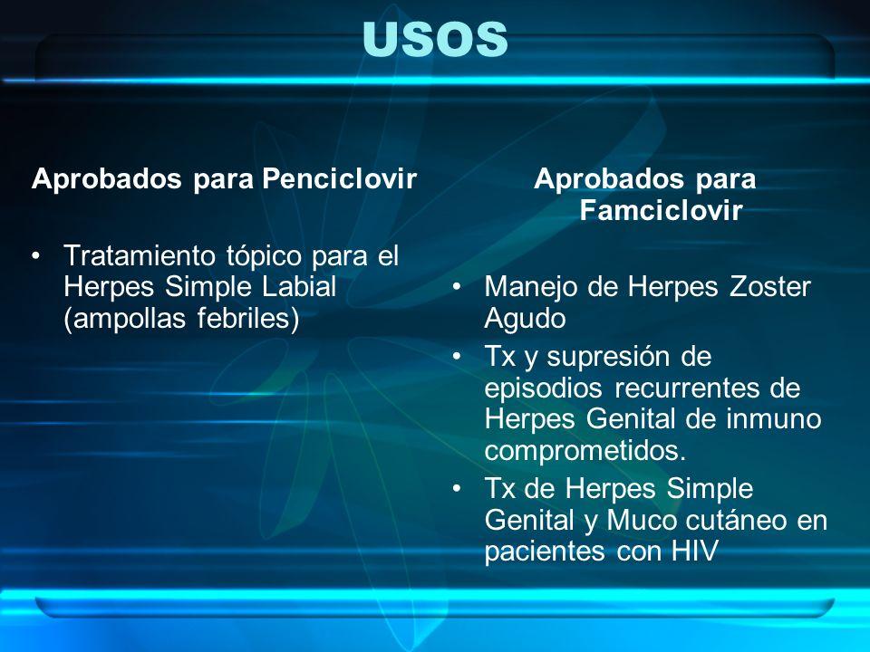 USOS Aprobados para Penciclovir Tratamiento tópico para el Herpes Simple Labial (ampollas febriles) Aprobados para Famciclovir Manejo de Herpes Zoster