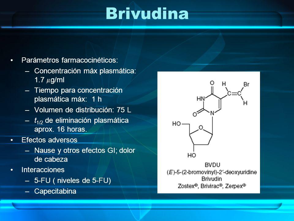 Brivudina Parámetros farmacocinéticos: –Concentración máx plasmática: 1.7 g/ml –Tiempo para concentración plasmática máx: 1 h –Volumen de distribución