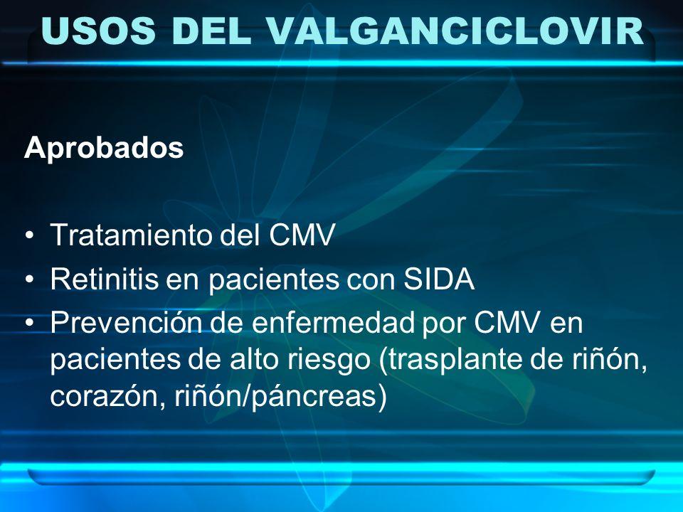 USOS DEL VALGANCICLOVIR Aprobados Tratamiento del CMV Retinitis en pacientes con SIDA Prevención de enfermedad por CMV en pacientes de alto riesgo (tr