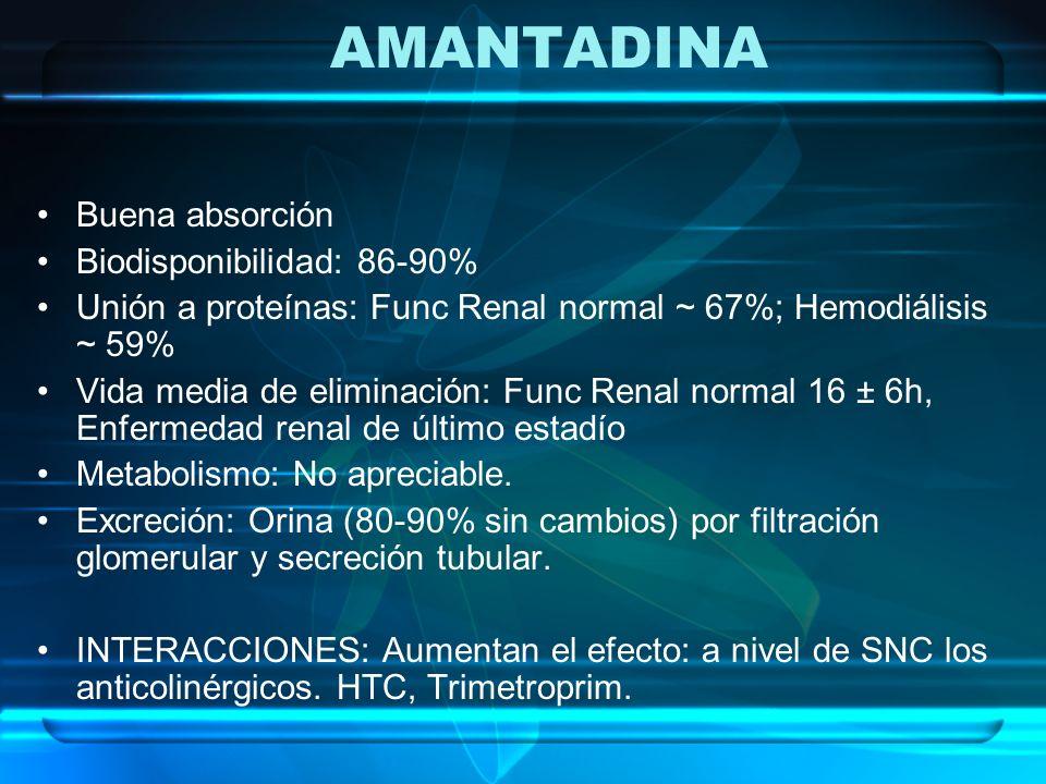 AMANTADINA Buena absorción Biodisponibilidad: 86-90% Unión a proteínas: Func Renal normal ~ 67%; Hemodiálisis ~ 59% Vida media de eliminación: Func Re