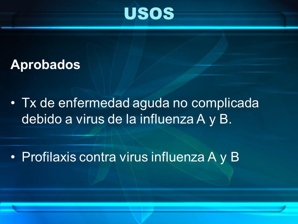 USOS Aprobados Tx de enfermedad aguda no complicada debido a virus de la influenza A y B. Profilaxis contra virus influenza A y B