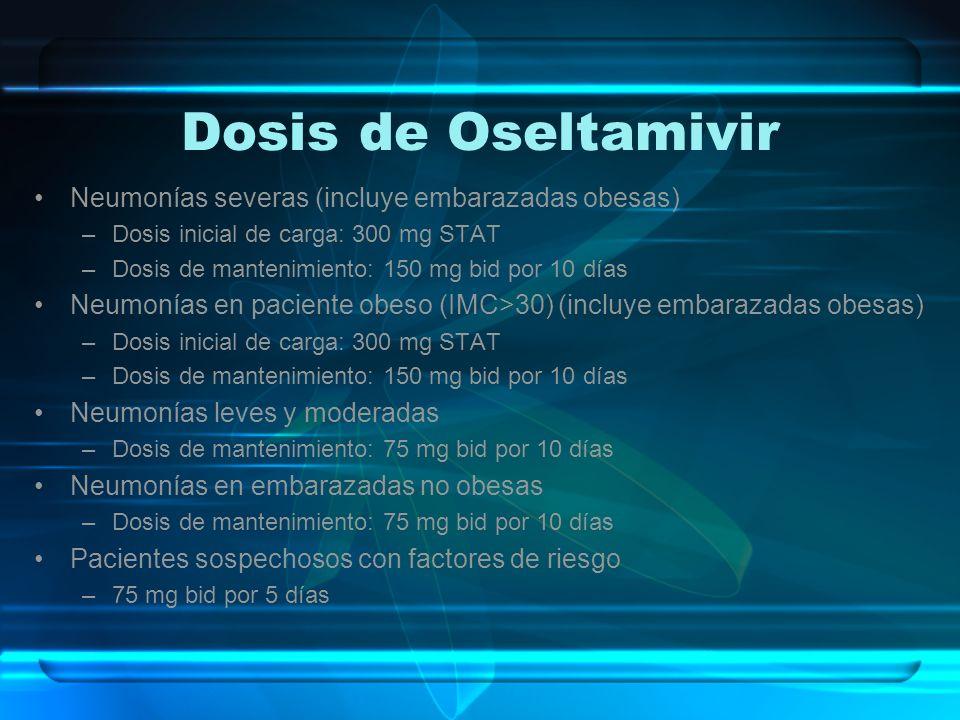 Dosis de Oseltamivir Neumonías severas (incluye embarazadas obesas) –Dosis inicial de carga: 300 mg STAT –Dosis de mantenimiento: 150 mg bid por 10 dí