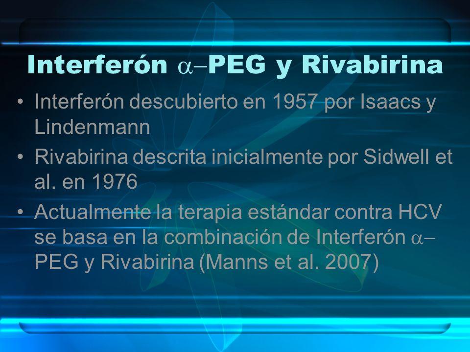 Interferón PEG y Rivabirina Interferón descubierto en 1957 por Isaacs y Lindenmann Rivabirina descrita inicialmente por Sidwell et al. en 1976 Actualm