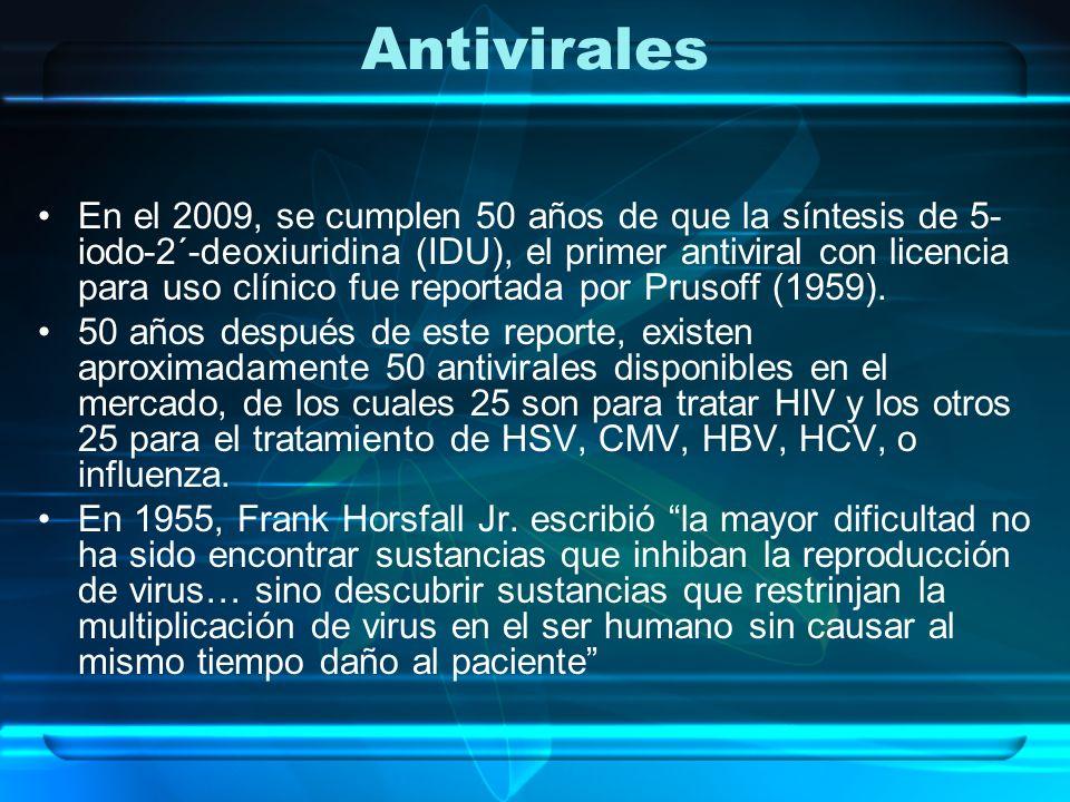Antivirales En el 2009, se cumplen 50 años de que la síntesis de 5- iodo-2´-deoxiuridina (IDU), el primer antiviral con licencia para uso clínico fue