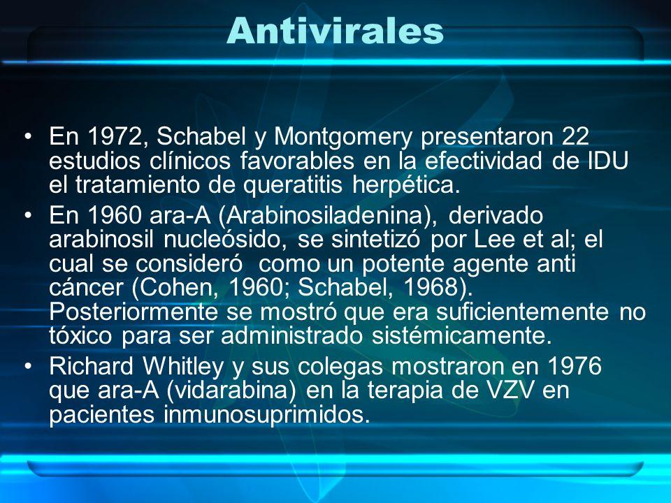 Antivirales La selectividad de la acción anti viral del aciclovir, fue anunciada en la edición de diciembre de 1977 de Proceedings of the US National Academy of Sciences (Elion et al.,1977), y su potencial antiviral fue documentado meses después en marzo de 1978 en Nature.