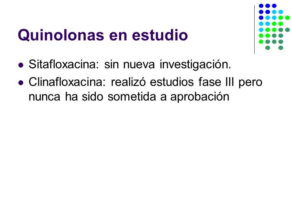 Quinolonas en estudio Sitafloxacina: sin nueva investigación.