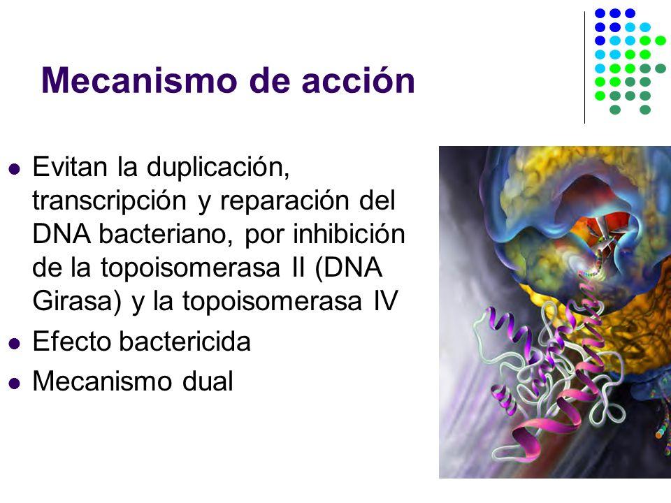 Mecanismo de acción Evitan la duplicación, transcripción y reparación del DNA bacteriano, por inhibición de la topoisomerasa II (DNA Girasa) y la topoisomerasa IV Efecto bactericida Mecanismo dual