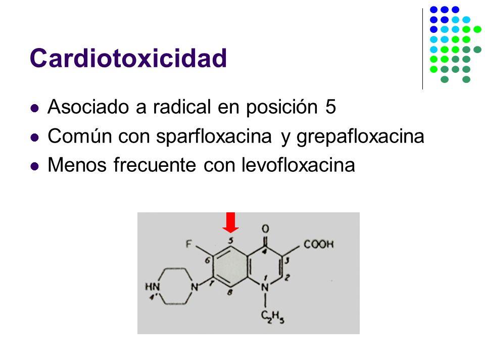 Cardiotoxicidad Asociado a radical en posición 5 Común con sparfloxacina y grepafloxacina Menos frecuente con levofloxacina