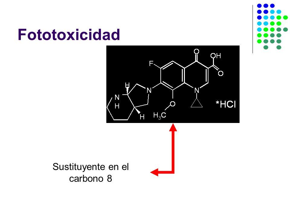 Sustituyente en el carbono 8 Fototoxicidad