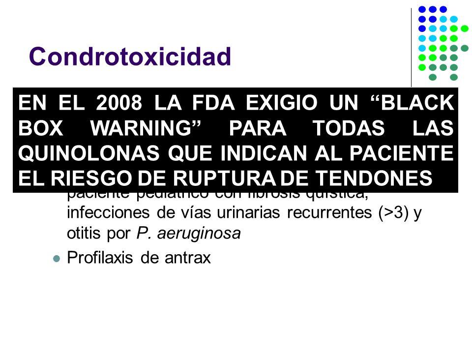Condrotoxicidad Efecto quelante de magnesio Contraindicadas en menores de 18 años y embarazadas Ciprofloxacina aprovada por la FDA para paciente pediátrico con fibrosis quística, infecciones de vías urinarias recurrentes (>3) y otitis por P.