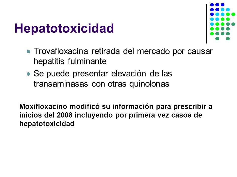 Hepatotoxicidad Trovafloxacina retirada del mercado por causar hepatitis fulminante Se puede presentar elevación de las transaminasas con otras quinolonas Moxifloxacino modificó su información para prescribir a inicios del 2008 incluyendo por primera vez casos de hepatotoxicidad