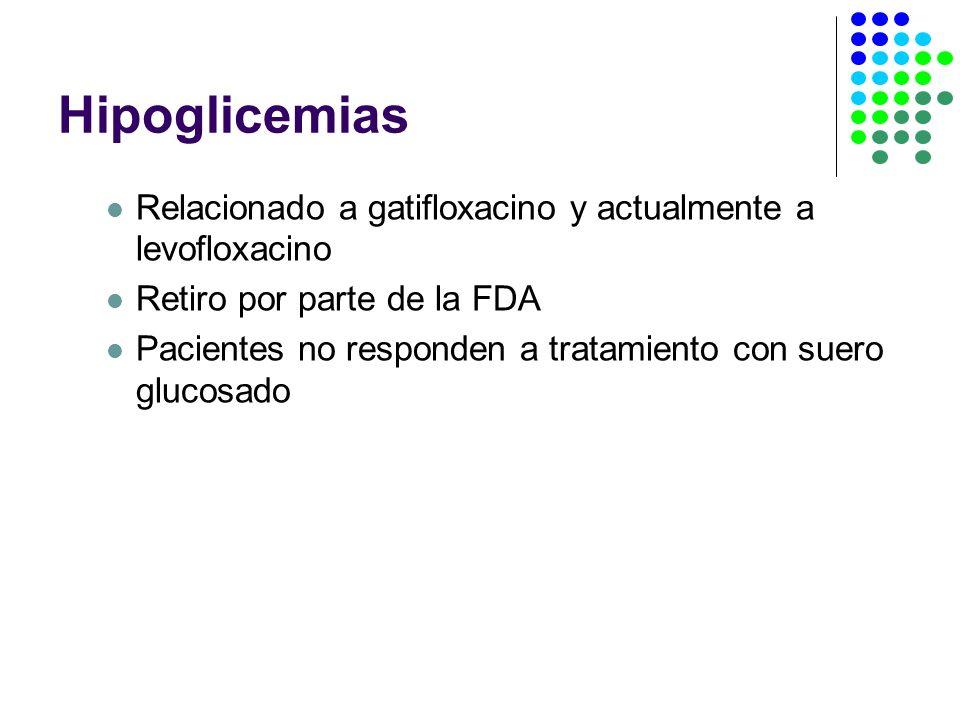 Hipoglicemias Relacionado a gatifloxacino y actualmente a levofloxacino Retiro por parte de la FDA Pacientes no responden a tratamiento con suero glucosado