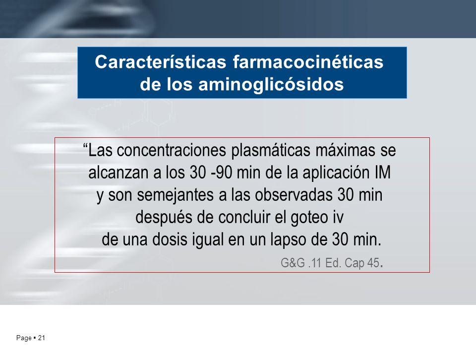 Page 21 Características farmacocinéticas de los aminoglicósidos Las concentraciones plasmáticas máximas se alcanzan a los 30 -90 min de la aplicación