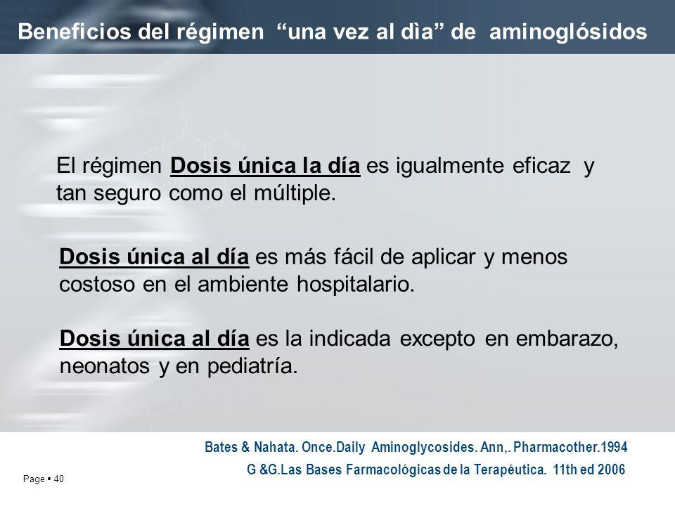 Page 40 Beneficios del régimen una vez al dìa de aminoglósidos El régimen Dosis única la día es igualmente eficaz y tan seguro como el múltiple. Dosis
