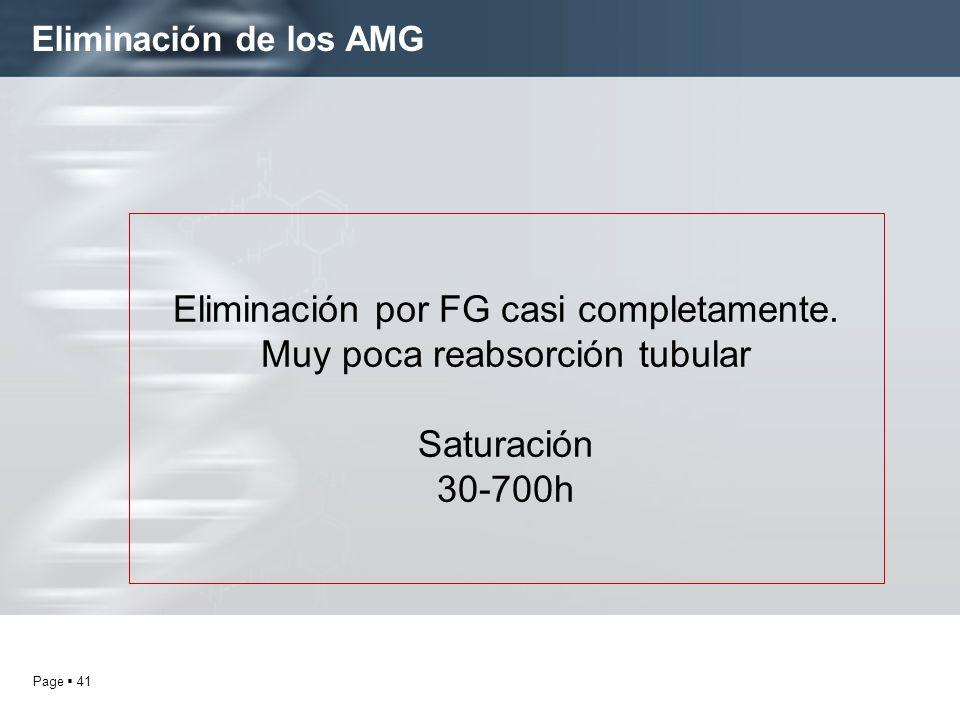 Page 41 Eliminación de los AMG Eliminación por FG casi completamente. Muy poca reabsorción tubular Saturación 30-700h