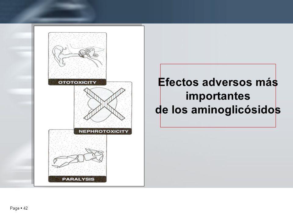 Page 42 Efectos adversos más importantes de los aminoglicósidos