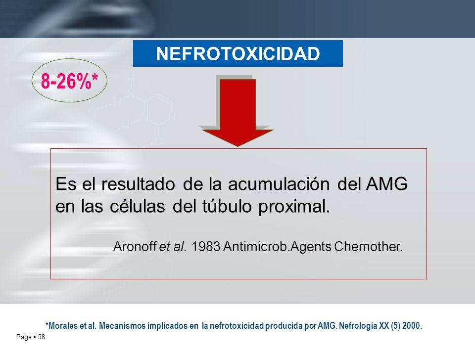 Page 58 NEFROTOXICIDAD 8-26%* Es el resultado de la acumulación del AMG en las células del túbulo proximal. Aronoff et al. 1983 Antimicrob.Agents Chem
