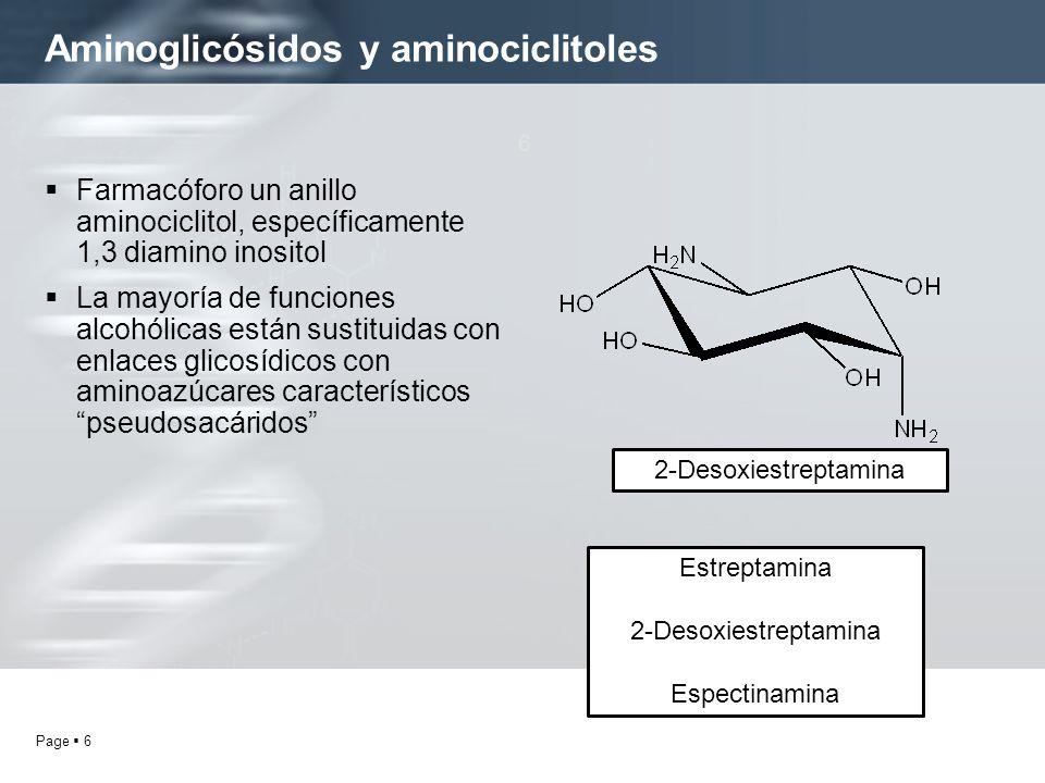 Page 6 Aminoglicósidos y aminociclitoles 6 Farmacóforo un anillo aminociclitol, específicamente 1,3 diamino inositol La mayoría de funciones alcohólic