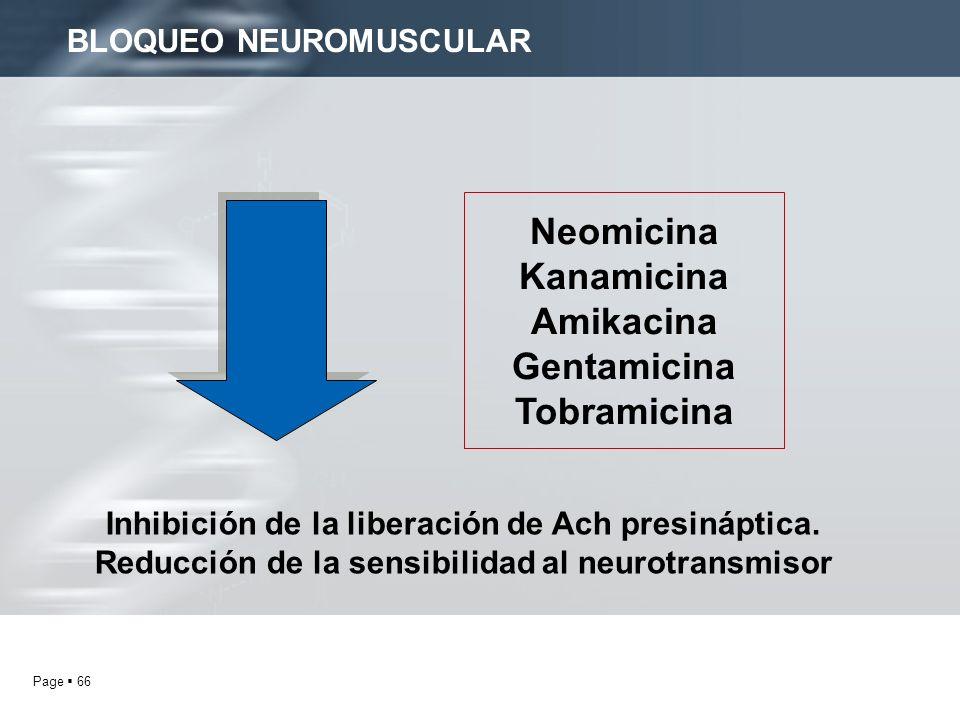 Page 66 BLOQUEO NEUROMUSCULAR Neomicina Kanamicina Amikacina Gentamicina Tobramicina Inhibición de la liberación de Ach presináptica. Reducción de la