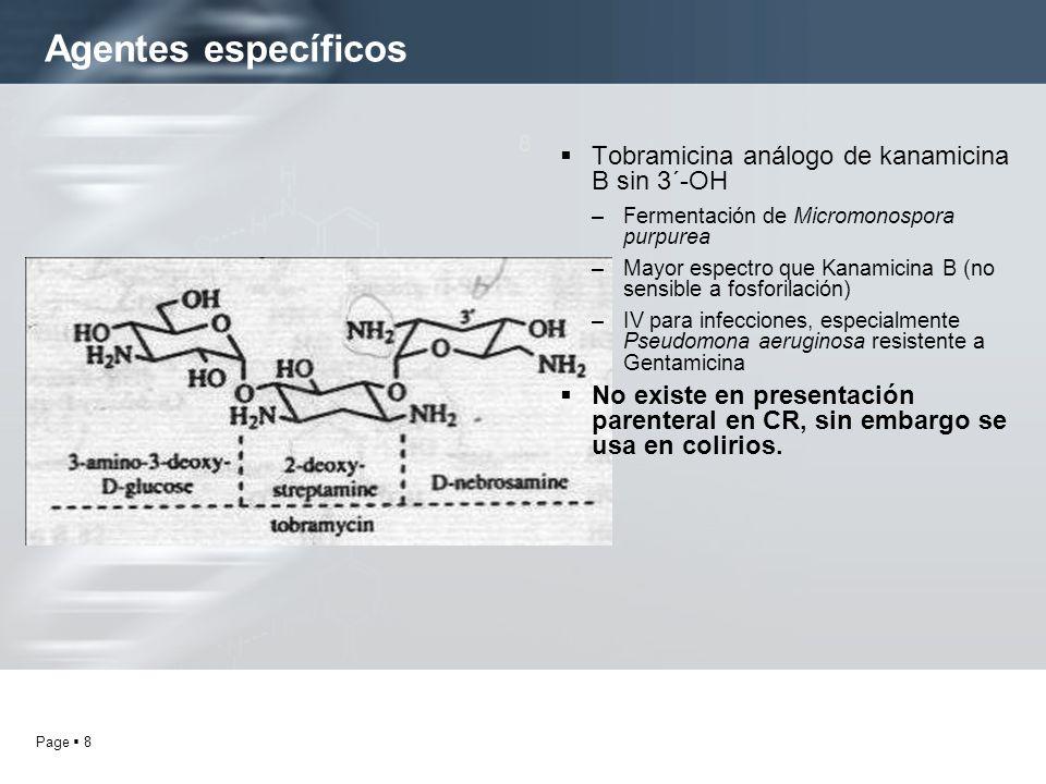 Page 8 Agentes específicos 8 Tobramicina análogo de kanamicina B sin 3´-OH –Fermentación de Micromonospora purpurea –Mayor espectro que Kanamicina B (