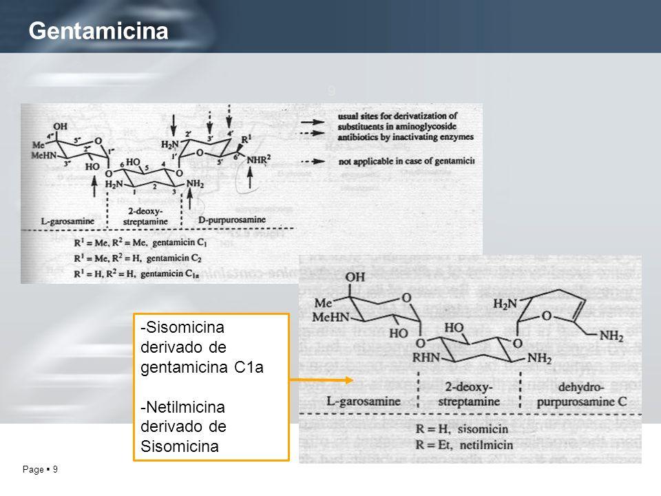 Page 9 Gentamicina 9 -Sisomicina derivado de gentamicina C1a -Netilmicina derivado de Sisomicina