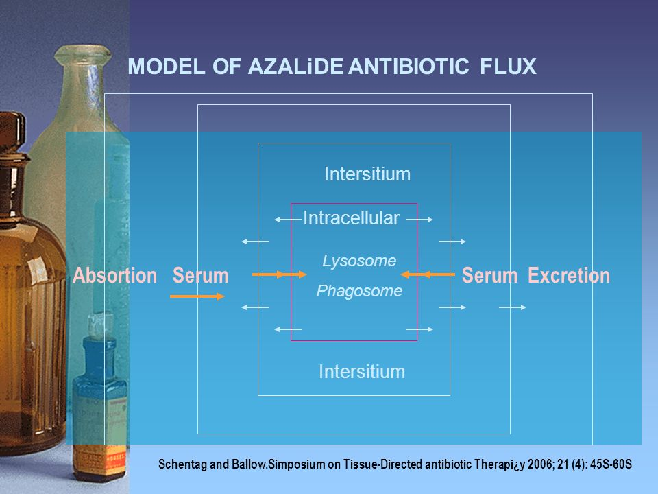 MODEL OF AZALiDE ANTIBIOTIC FLUX Lysosome Phagosome Intersitium Intracellular Serum ExcretionAbsortion Serum Schentag and Ballow.Simposium on Tissue-D