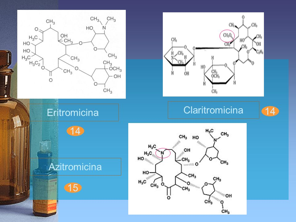 Adverse effectErythromycinAzithromycinClarithromycin GI: diarrhea 5-10 %3.6 %3% nausea 5-10 %2.6 %3% abd.