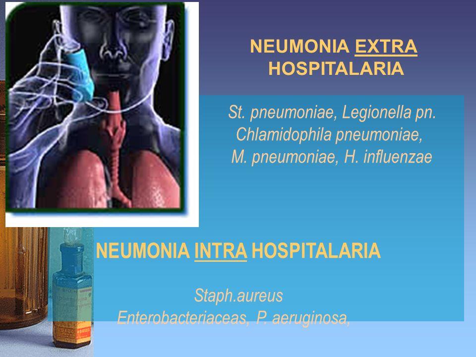 NEUMONIA EXTRA HOSPITALARIA St. pneumoniae, Legionella pn. Chlamidophila pneumoniae, M. pneumoniae, H. influenzae NEUMONIA INTRA HOSPITALARIA Staph.au