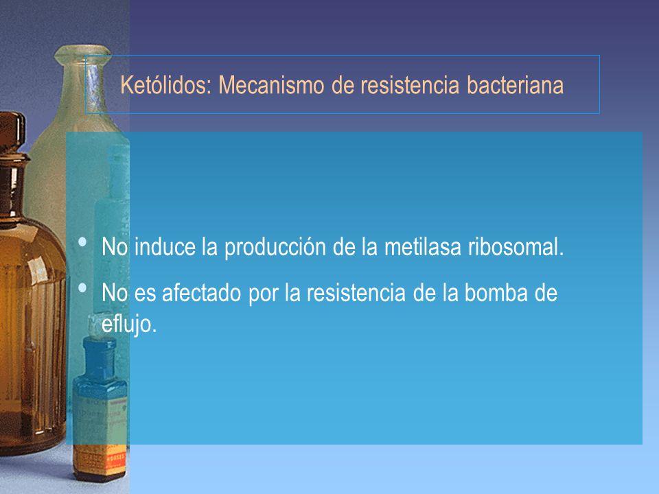 Ketólidos: Mecanismo de resistencia bacteriana No induce la producción de la metilasa ribosomal. No es afectado por la resistencia de la bomba de eflu