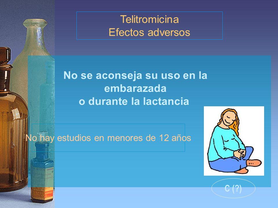 No se aconseja su uso en la embarazada o durante la lactancia Telitromicina Efectos adversos No hay estudios en menores de 12 años C (?)
