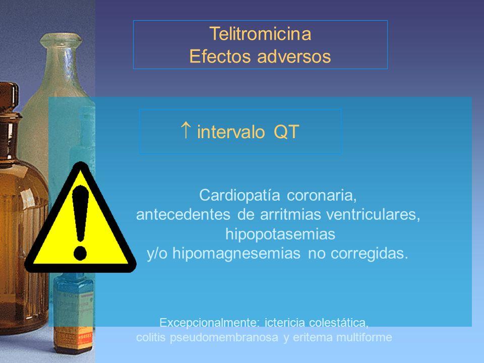 Excepcionalmente: ictericia colestática, colitis pseudomembranosa y eritema multiforme Telitromicina Efectos adversos intervalo QT Cardiopatía coronar