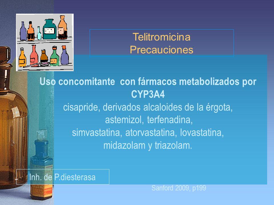 Uso concomitante con fármacos metabolizados por CYP3A4 cisapride, derivados alcaloides de la érgota, astemizol, terfenadina, simvastatina, atorvastati