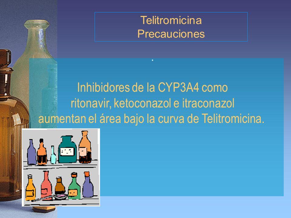 . Inhibidores de la CYP3A4 como ritonavir, ketoconazol e itraconazol aumentan el área bajo la curva de Telitromicina. Telitromicina Precauciones