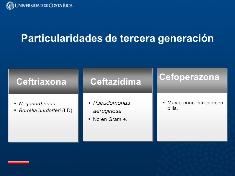 Particularidades de tercera generación Pseudomonas aeruginosa No en Gram +.
