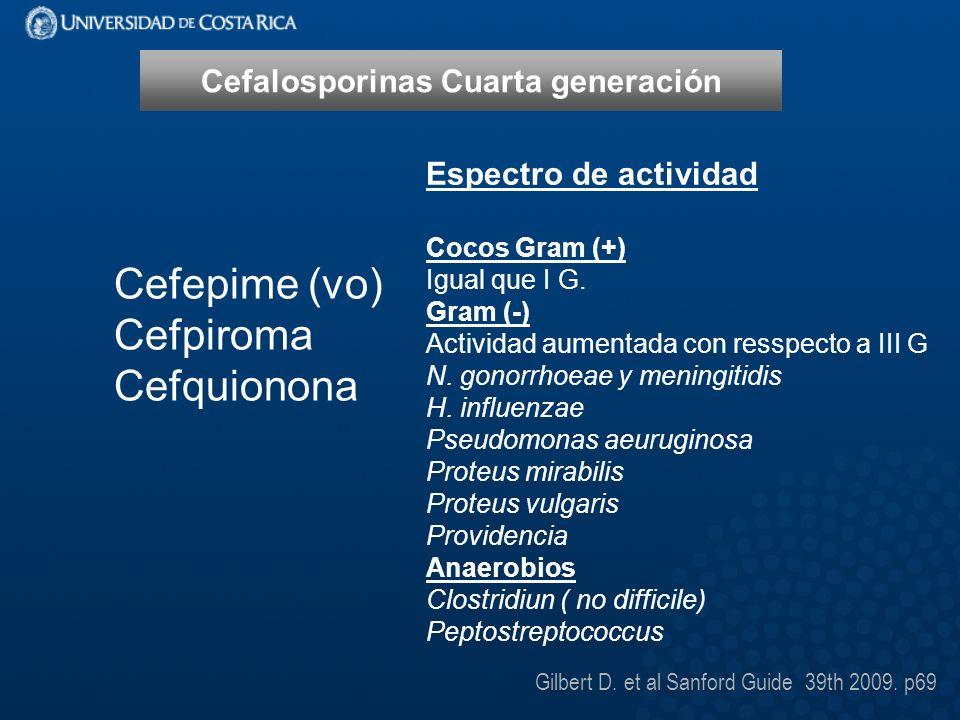Cefalosporinas Cuarta generación Cefepime (vo) Cefpiroma Cefquionona Espectro de actividad Cocos Gram (+) Igual que I G.