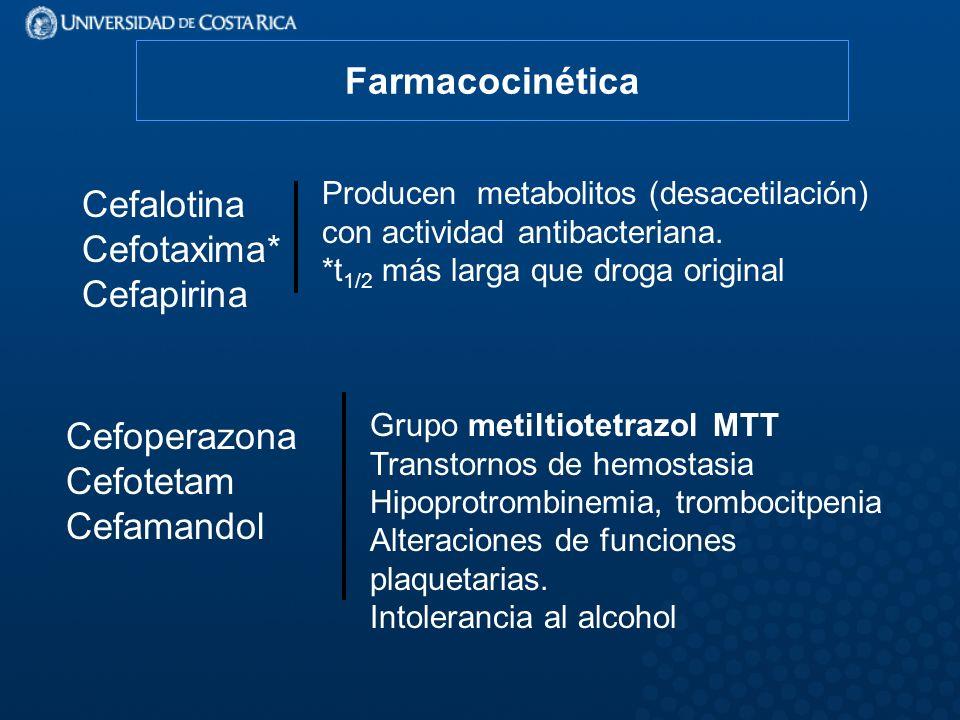 Cefoperazona Cefotetam Cefamandol Grupo metiltiotetrazol MTT Transtornos de hemostasia Hipoprotrombinemia, trombocitpenia Alteraciones de funciones plaquetarias.