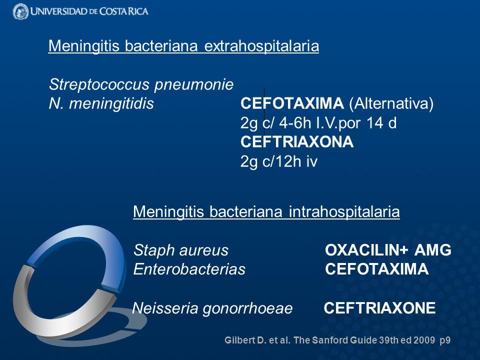 Meningitis bacteriana extrahospitalaria Streptococcus pneumonie N.
