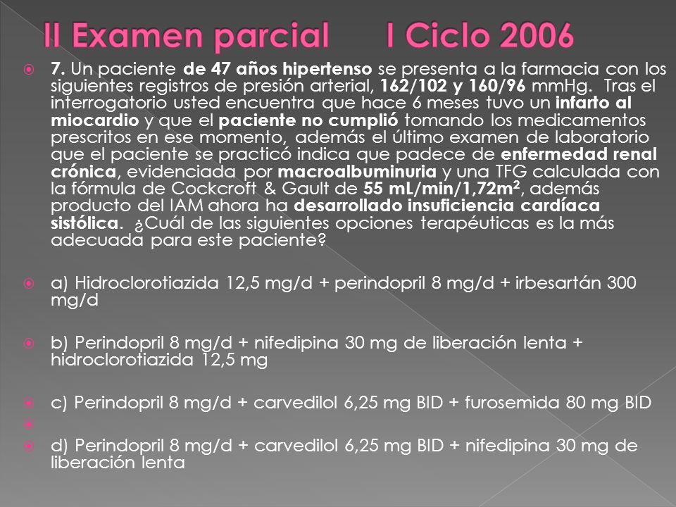 7. Un paciente de 47 años hipertenso se presenta a la farmacia con los siguientes registros de presión arterial, 162/102 y 160/96 mmHg. Tras el interr