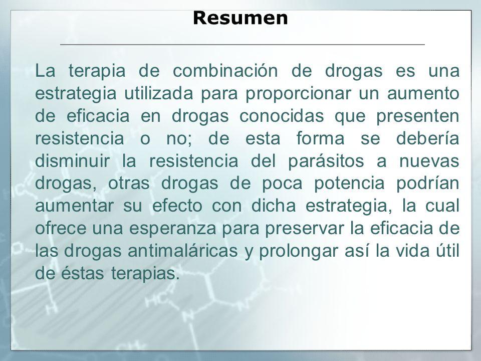 Resumen La terapia de combinación de drogas es una estrategia utilizada para proporcionar un aumento de eficacia en drogas conocidas que presenten res