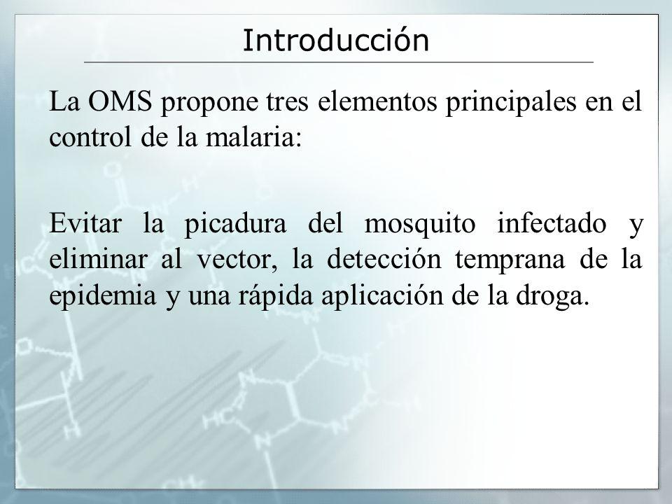 Introducción La OMS propone tres elementos principales en el control de la malaria: Evitar la picadura del mosquito infectado y eliminar al vector, la