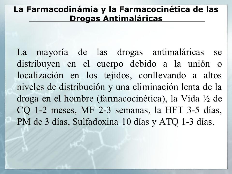 La Farmacodinámia y la Farmacocinética de las Drogas Antimaláricas La mayoría de las drogas antimaláricas se distribuyen en el cuerpo debido a la unió