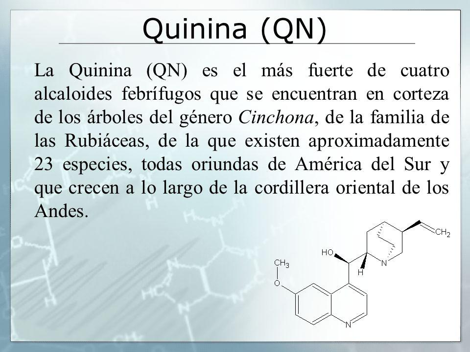 Quinina (QN) La Quinina (QN) es el más fuerte de cuatro alcaloides febrífugos que se encuentran en corteza de los árboles del género Cinchona, de la f