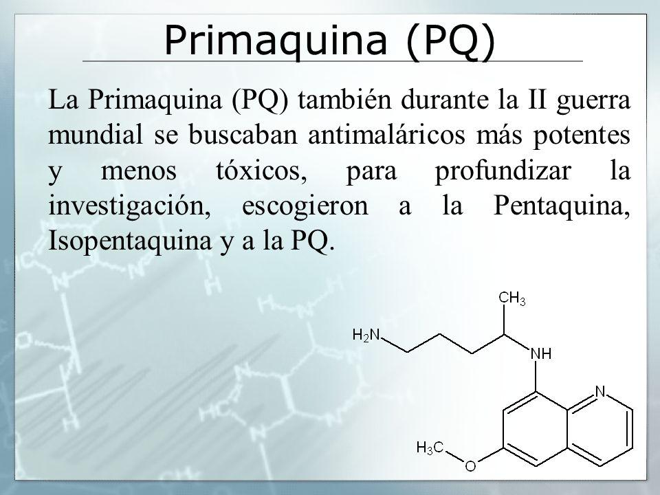 Primaquina (PQ) La Primaquina (PQ) también durante la II guerra mundial se buscaban antimaláricos más potentes y menos tóxicos, para profundizar la in